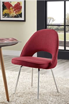 Cordelia Dining Side Chair in Red. Participate in renewed growth and actualization with the Cordelia Side Chair. Sit comfortably as an aspirational back and up-surging arms compliment a dual-tone tweed fabric cushion. #diningchairs #furniture