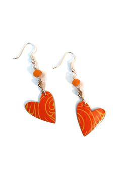 Boucles d'Oreilles Coeurs Oranges  Canettes par CapAndPapBoutique