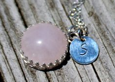 Sterling Silver Rose Quartz Initial Pendant Necklace by Beazora