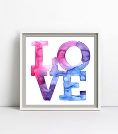 LOVE, Aquarell, Poster 30x30cm von goodgirrrl auf DaWanda.com
