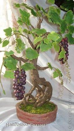 Мастер-класс Лепка: Виноград.Бонсай+МК по кисти винограда(в комментариях). Гипс, Крупа, Фарфор холодный. Фото 4 #bonsaiporcelanafria