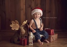 This is the inspiration for our cabin set, simple props with the focus on the sweet expressions. I love this little guys outfit! {RFP}