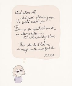 Handwritten Glittering eyes quote Roald Dahl, one of my fav authors