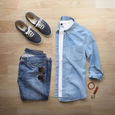 If it's blue, I'll take it #blueplease Denim: @alexmill Japanese Selvege Shirt: @nonationality07 Chambray T-Shirt: @nonationality07 Pima Cotton Shoes: @vans for @jcrew Watch/Bracelet: @miansai Sunglasses: @persol