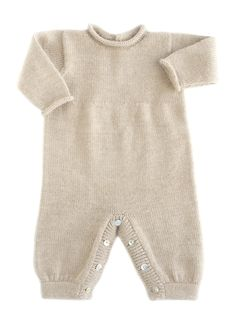 A must have jumper featuring a jersey stitch body with rolled neck and sleeves. Open in the back and bottom for easy dressing. Finished with Akoya shell buttons. Baby Overalls, Baby Jumpsuit, Suit Pattern, Pants Pattern, Knit Baby Pants, Baby Girl Crochet Blanket, Matching Sweaters, Crochet Bebe, Knitted Romper
