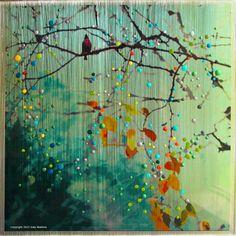 Birdsong - Green - Morning Mist Original - Introspection. Awakening to new possibilities.. $1,800.00, via Etsy.