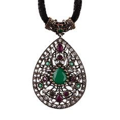 The Zerbap Mehsa Pendant  with Zircon Emerald Ruby by Rosestyle, $73.00