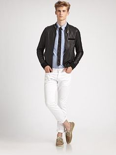 BAND OF OUTSIDERS  Leather Jacket, Oxford Shirt, Super Skinny Ties, Jeans and Boat Shoes