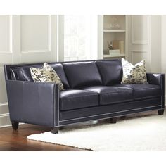 Small Sectional Sofa Steve Silver Hendrix Sofa with Accent Pillows Brooklyn navy blue finish Steve Silver FurnitureLeather