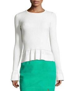 DIANE VON FURSTENBERG Ribbed Knit Peplum Top, White. #dianevonfurstenberg #cloth #
