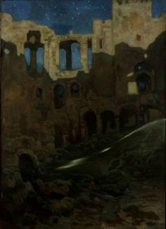 """""""The ruins of the Krzyżtopór castle in Ujazd"""" (1904) by Kazimierz Stabrowski (Polish;1869-1929),oil on canvas; National Museum, Warsaw."""