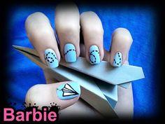 Paper Airplane Nails by ~BarbieNailArt on deviantART