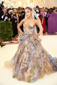 """Met Gala: Celebs bring heavenly looks to Catholic-themed red carpet The Metropolitan Museum of Art Costume Institute Gala celebrated the opening of """"Heavenly Bodies: Fashion and the Catholic. Ariana Grande Fotos, Ariana Grande Outfits, Ariana Grande Pictures, Ariana Grande 2018, Gala Dresses, Red Carpet Dresses, Gala Gowns, Club Dresses, Irina Shayk"""