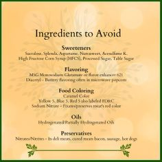 Ingredients to Avoid in Food. Healthy food. Healthy choices. organic