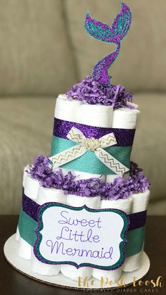 Little Mermaid Diaper Cake, Baby Shower Centerpiece Decor Gift, Purple Teal Gold Mermaid Seashell Un