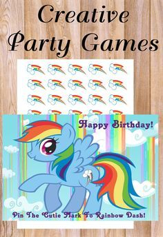 My Little Pony Pin The Cutie Mark on Rainbow Dash Party Game! *Personalized *