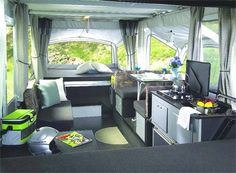 Pop Up Camper Hacks and Remodel: 44 New Cushions and Painting the Cabinets - Architecturehd Trailer Interior, Camper Interior, Interior Exterior, Interior Ideas, Interior Design, Modern Interior, Kombi Motorhome, Camper Trailers, Travel Trailers