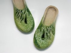 Felted slippers. Green Green. With holes for toes. by jurgaZa, $65.00