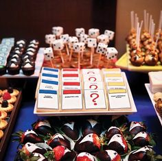 MONOPOLY PARTY Monopoly game card cookies and chocolate dipped tuxedo strawberries