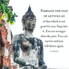 Embrace the pain of letting go of that which is not good for you. You are stronger than the pain. You can survive and you will thrive again. ~Les Brown