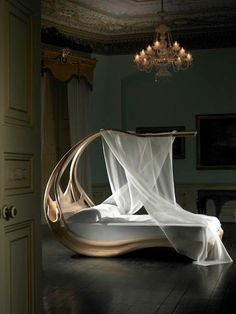 sculptural bed with a canopy