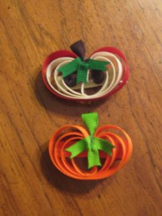 Pumpkin OR Apple Ribbon Art Hair Clippie YOU CHOOSE. Great for back to school