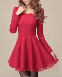 Solid Color Elegant Style Puff Sleeves Lace Splicing Worsted Dress For Women (RED,XL)   Sammydress.com