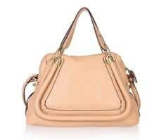 Chloe Paraty Calf Leather Medium Shoulder Bag Apricot