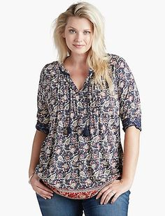 lucky brand mixed print peasant top (plus size) available at