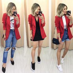 Looks com blazer vermelho Jeans and red blazer – Short mom Jeans and red blazer – Black skirt and red Blazer Outfits Casual, Blazer Fashion, Cute Casual Outfits, Chic Outfits, Fall Outfits, Summer Outfits, Red Fashion Outfits, Red Dress Outfit Casual, Fashion Blouses