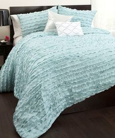Shop for Lush Decor Modern Chic Comforter Set. Get free delivery On EVERYTHING* Overstock - Your Online Fashion Bedding Store! Ruffle Comforter, Blue Comforter Sets, Bedding Sets, Blue Bedding, Girl Bedding, Duvet, Ruffles, How To Clean Pillows, Bedding Basics