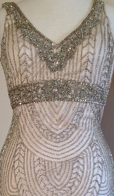 SUE WONG Art Deco Champagne Beaded Embellished Bridal Cocktail Evening Dress 10 #SueWong #Cocktail