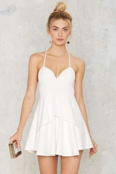 Spin Me Round Plunging Dress - White - Clothes Plunging Neckline Dress, Grad Dresses Short, White Cocktail Dress, Cocktail Dresses, Structured Dress, Plunge Dress, Little White Dresses, Silhouette, White Fashion
