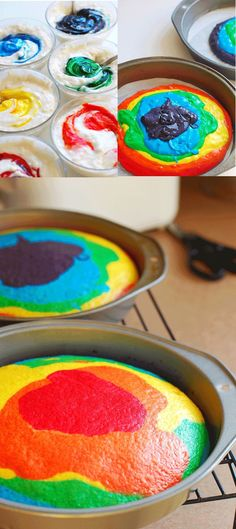 I made a white cake and followed the instructions on the box.  Divided the batter into 6 bowls and added food coloring.  Layered it and baked it as directed.  Can be made into cupcakes, a bunt pan, or two 8 inch rounds.  So easy and so pretty as a final product.  Made for my daughter's 7th birthday cake- she loved it! #recipebook #paleo #diet