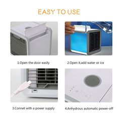 Usb Cooling Fan Mobile Air Conditioning Miniature Air Cooler Household Office Mute Add Water Single Cold Type Rapid Cooling Household Appliances