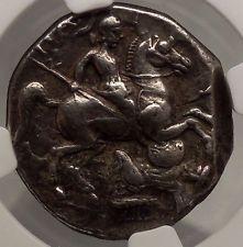 Patraos King of Paeonia 340BC Silver TETRADRACHM Ancient Greek Coin NGC i53392