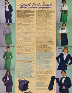 """In the early 1990s was when the Girl Scout started to use corporate navy blue in the adult uniforms.  It is very evident on this page here.  Suprisingly around this time I knew of many leaders that wore the green """"Bill Blass"""" dress, often, sewn at home.  It was a much cheaper alternative.  Or more common, leaders were still wearing the logo print blouses and the green slacks or wrap-around skirt. This is a page from the 1993 Girl Scout Catalog."""