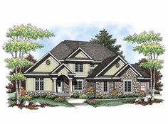 Country House Plan with 3584 Square Feet and 4 Bedrooms(s) from Dream Home Source | House Plan Code DHSW65957