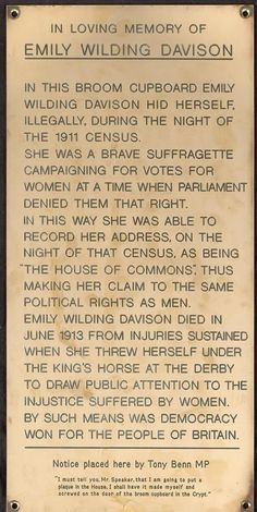 Suffragette panel in the crypt chapel under the Palace of Westminster