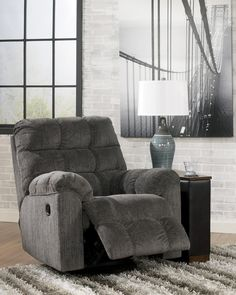 Gray Recliner from the Grey Falls Collection. Hate recliners, but they are so comfortable and functional