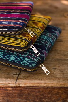 The diverse colors of traditional Indonesian ikat! Ikat, Hand Weaving, Zip Around Wallet, Traditional, The Originals, Colors, Hand Knitting, Colour, Color