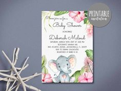 Printable Safari Baby Shower Invitation, Elephant Baby Shower Invitation (5x7in) - matching items: photo 2,3,4,5 (sold separately)  This listing is a digital file customized with your personalized information. No printed materials will be shipped. You can print as many as you want! Proof is delivered electronically through Etsy convo and final files via e-mail. - recommendation for printing: white matte card stock.  COORDINATES with: (SOLD SEPARATELY)  BABY SHOWER GAMES PACKAGE…