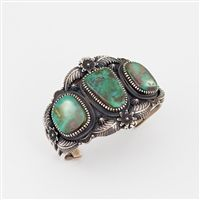 Sterling Silver and Royston Turquoise Bracelet by Navajo artist Kirk Smith.  (no longer available) http://www.oldtownjewels.com/Kirk-Smith-Royston-Turquoise-Cuff-Bracelet-p/b.w.ks.tu.101.htm