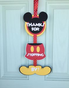 "Mickey Mouse Clubhouse Sign. ""Thanks For Stopping By!"" Mickey Mouse Clubhouse Birthday Party, front door sign by BellesBanners on Etsy https://www.etsy.com/listing/474317649/mickey-mouse-clubhouse-sign-thanks-for"