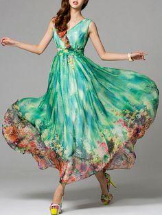 Green floral print maxi dress