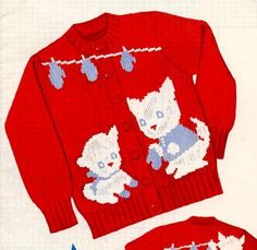 Three Little Kittens have lost their Mittens Knit Sweater PATTERN 201 sz 2 4 6 #KnitOGraf201