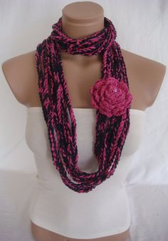 Crocheted Scarf, Infinity Rope Scarf, Chain Scarf (Dark Blue, Pink) by Arzu's Style $19.90