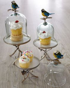 """Feathered Friends"" Cupcake Stands by Janice Minor at Horchow."