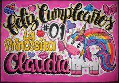 Pancartas de cumpleaños para bebes Diy Birthday, Unicorn Birthday, Birthday Gifts, Illustrations And Posters, Diy And Crafts, Ideas Para, Lettering, Draw, Blog