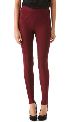 Thin bands cross at sharp angles, giving Herve Leger leggings a futuristic point of view. Zips hide along the inseam, and the brand's signature fabric creates a sleek, formfitting look. A covered elastic waistband keeps this piece comfortable.    Fabric: Ribbed mid-weight jersey.  90% rayon/9% nylon/1% spandex.  Dry clean.  Imported.    MEASUREMENTS  Rise: 10in / 25.5cm  Inseam: 31in / 78.5cm